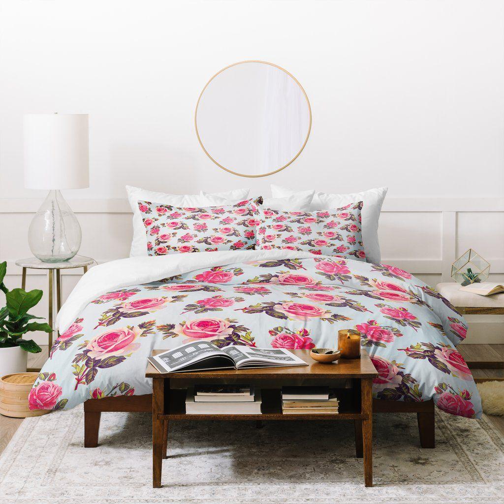 Allyson Johnson Pink Roses Duvet Cover Deny Designs