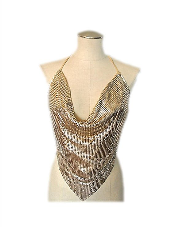 e28e40a7830f7 Vintage Gold Mesh Halter Top Disco Small by ChristysAtticDoor