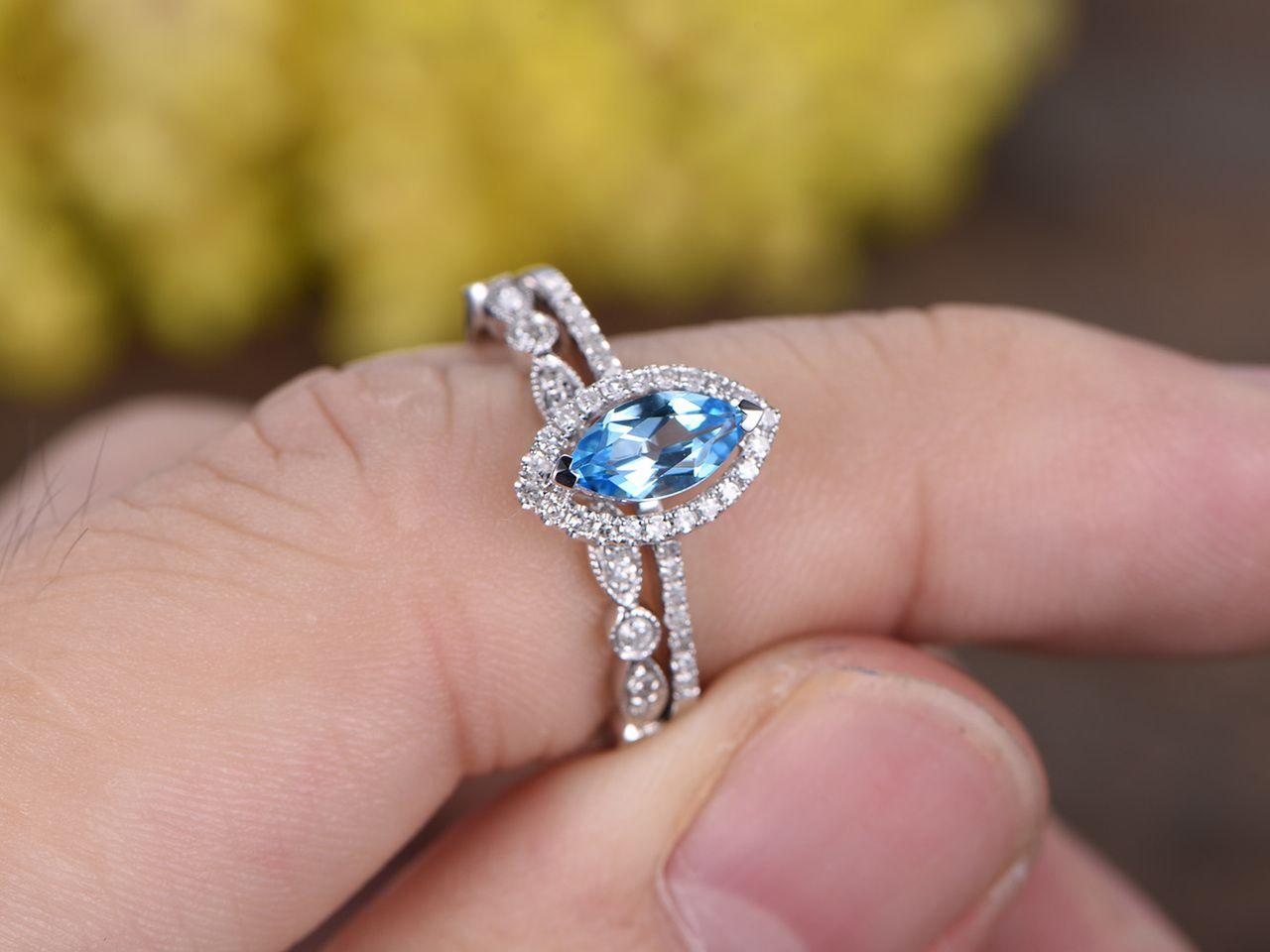 13 carat marquise blue topaz wedding ring set 14k white