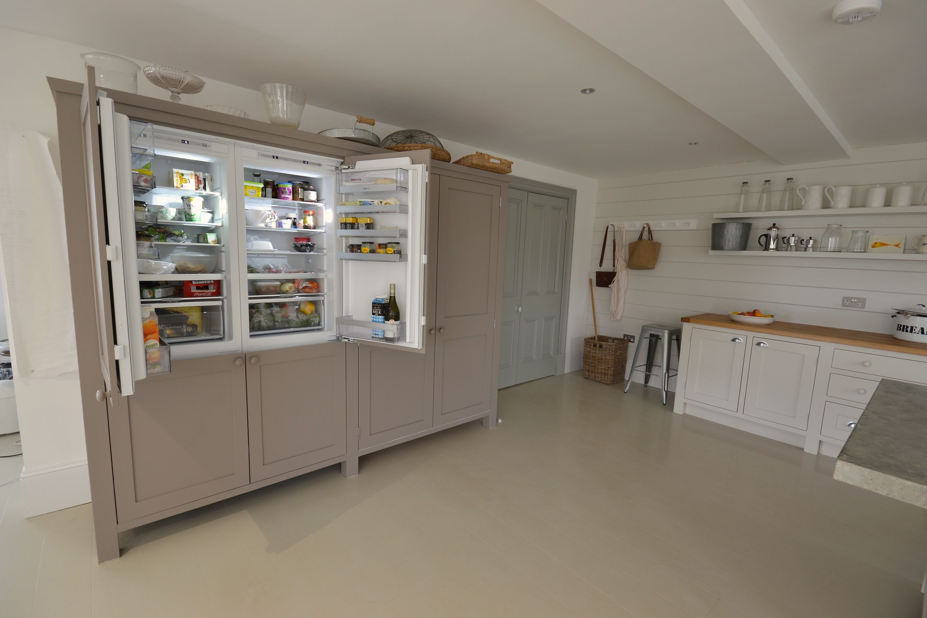 GUERNSEY KITCHEN NO.2 BUILT IN FRIDGE FREEZER U2013 Bespoke Kitchens Polished  Concrete Worktops Cornwall