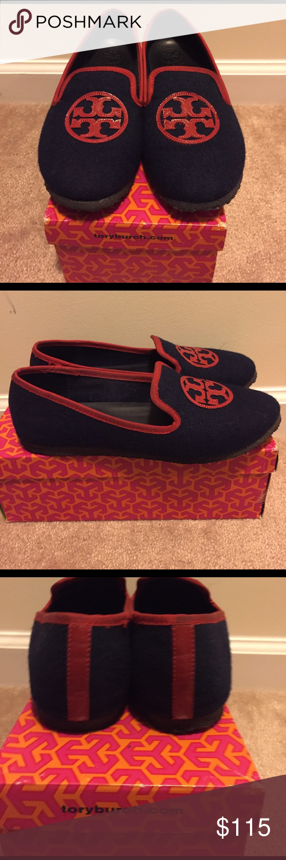 Authentic Tory Burch flats! Navy blue with red TB signs. Used but in good condition! Tory Burch Shoes Flats & Loafers