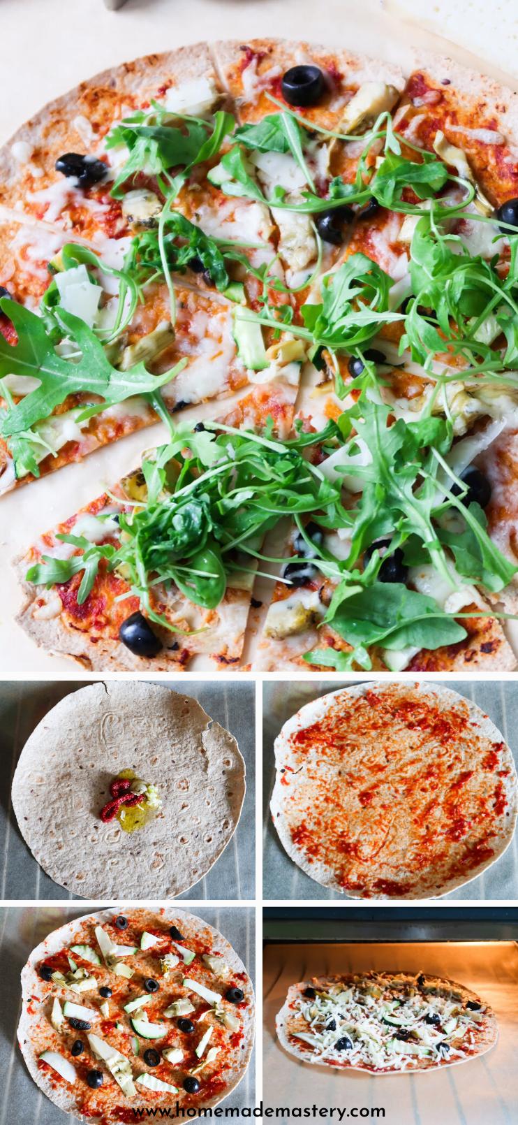 10 Minute Vegetarian Tortilla Pizza Homemade Mastery Recipe Healthy Pizza Recipes Tortilla Pizza Pizza Dinner Recipes
