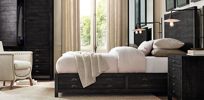 Bedroom Sets Restoration Hardware printmaker's bedroom collection black pine | restoration hardware