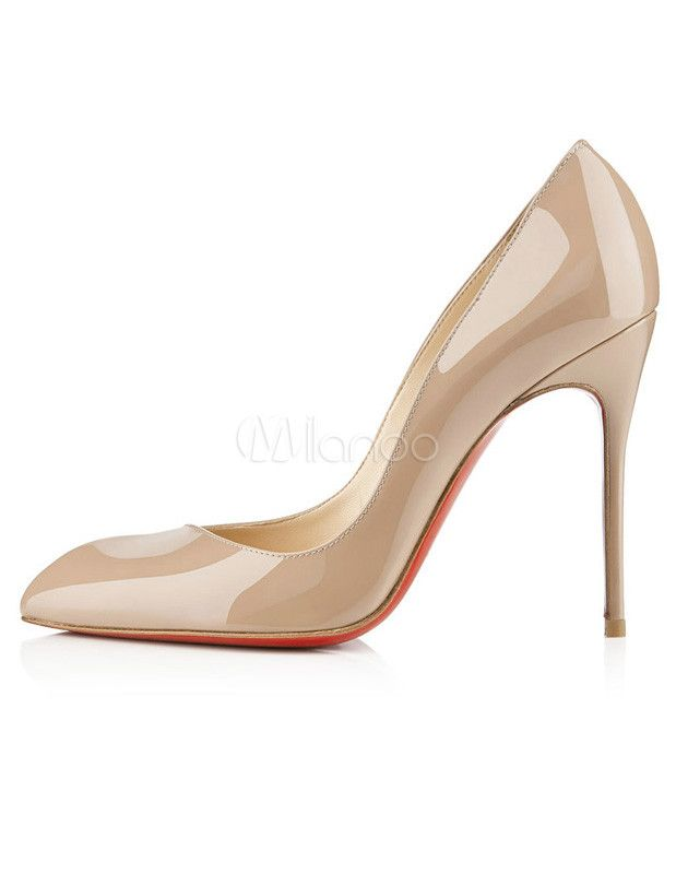 cf66de90cd4b Shiny Nude Color Pointed Toe Stiletto Heel High Heels For Women ...