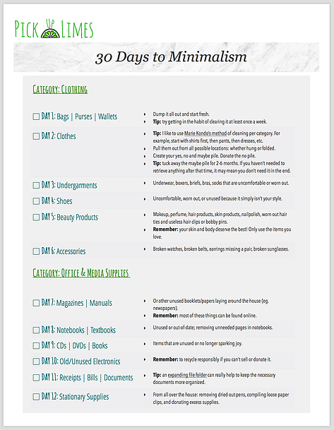 30 Days To Minimalism Printable Guide Pick Up Limes Nourish The Cells The Soul Minimalism Challenge Printable Guide Pick Up Limes Blog