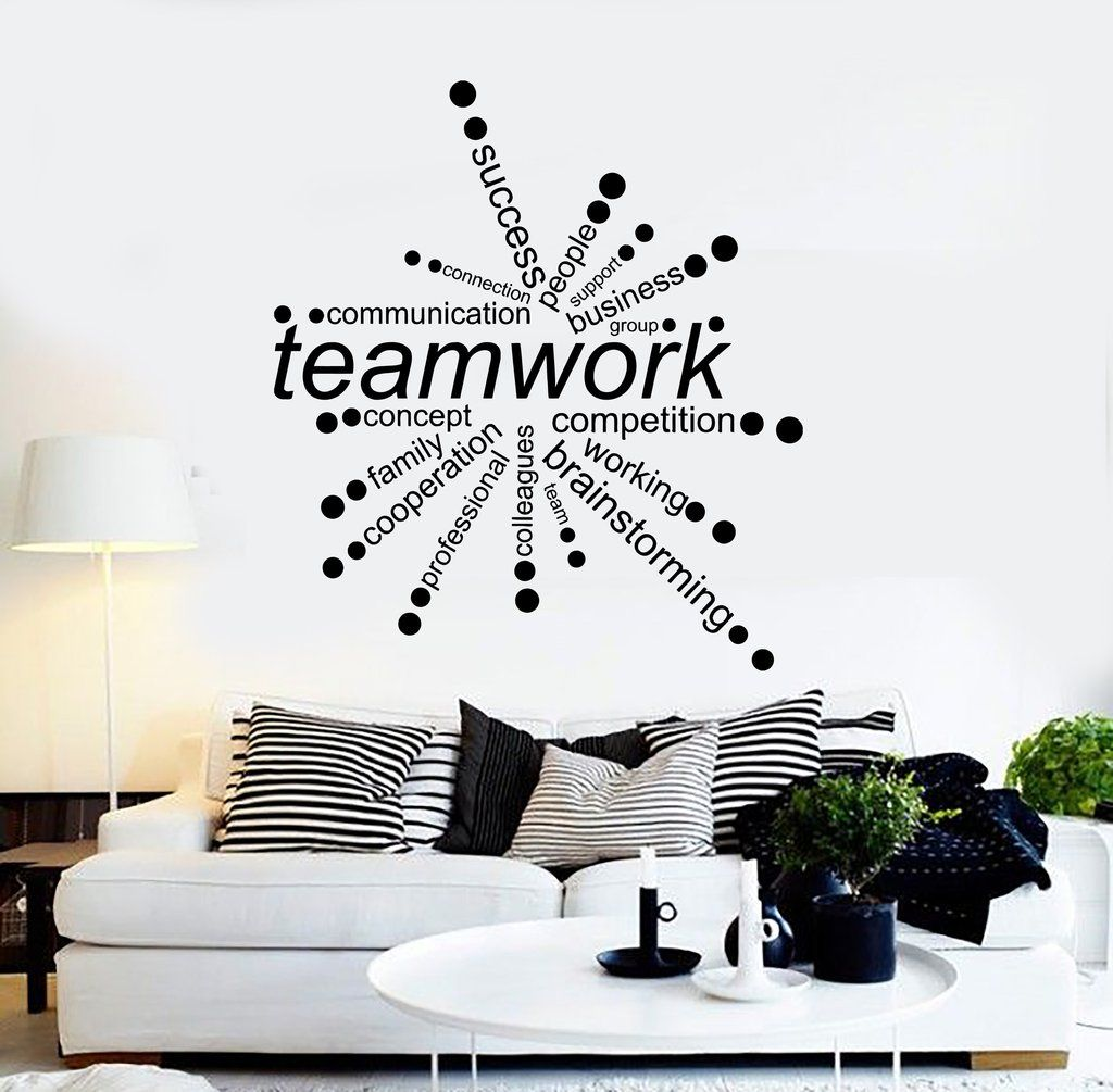 79e1fb8c95f5a Vinyl Wall Decal Teamwork Words Office Decor Business Stickers ...