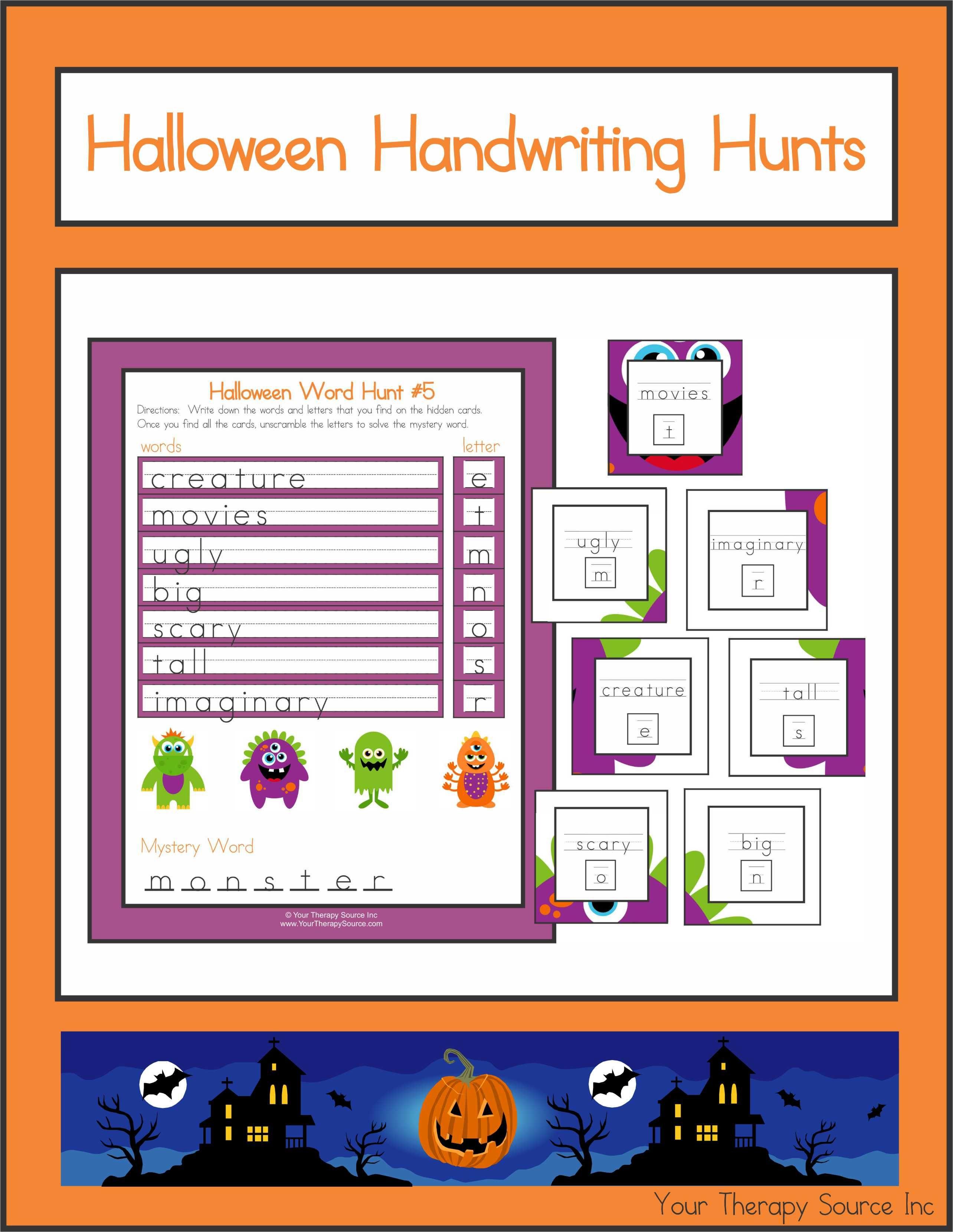 Halloween Handwriting Hunts