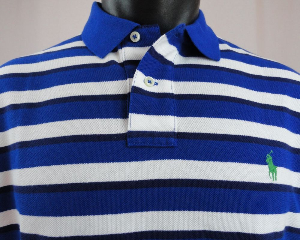 d6849384f NWT Polo Ralph Lauren Men XL Striped Polo Shirt Royal White Black SS Custom  Fit #PoloRalphLauren #PoloRugby