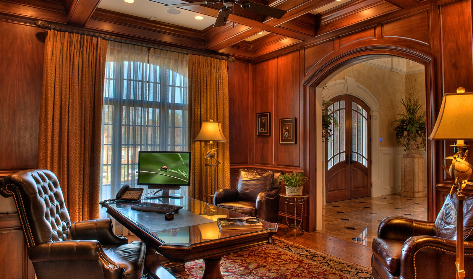 Don T Really Want A Study Off The Front Door Want It To Have The Lake View Gabriel Green Masculine Home Offices Traditional Home Offices Home Office Design