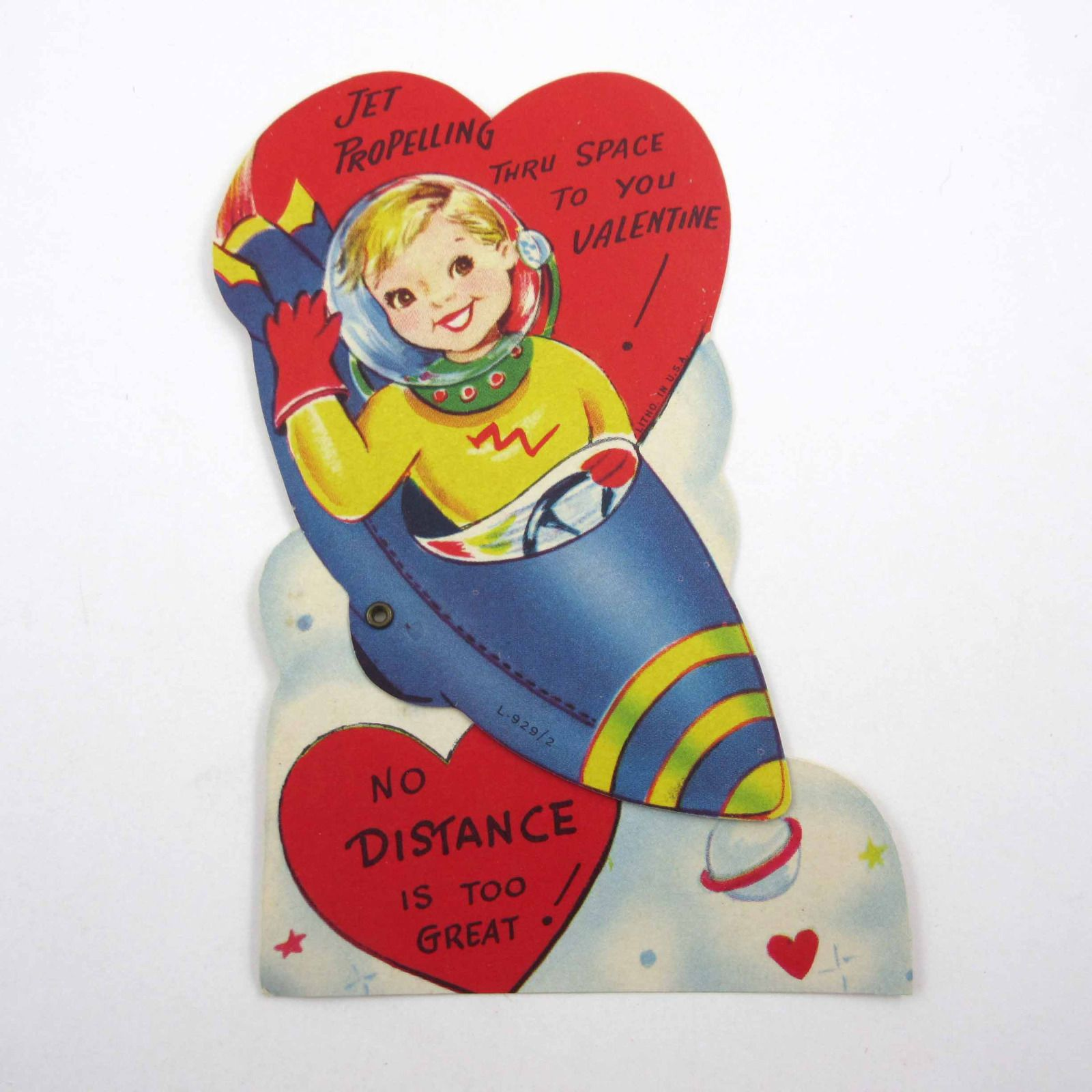 Vintage Mechanical Child S Valentine Card Cute Space Gir Astronaut