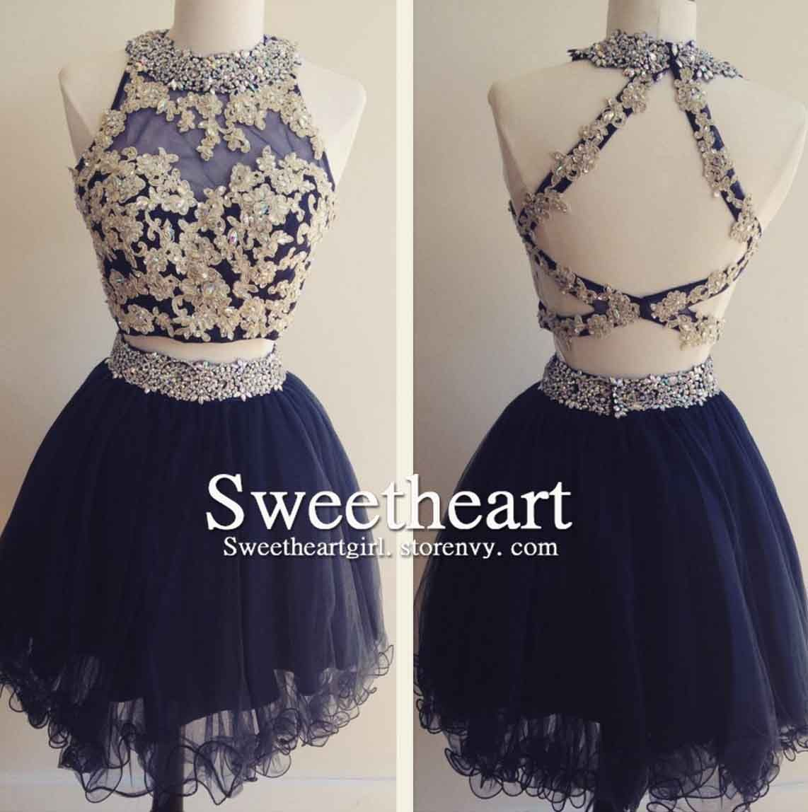 Dark blue tulle lace pieces short prom dress cute homecoming