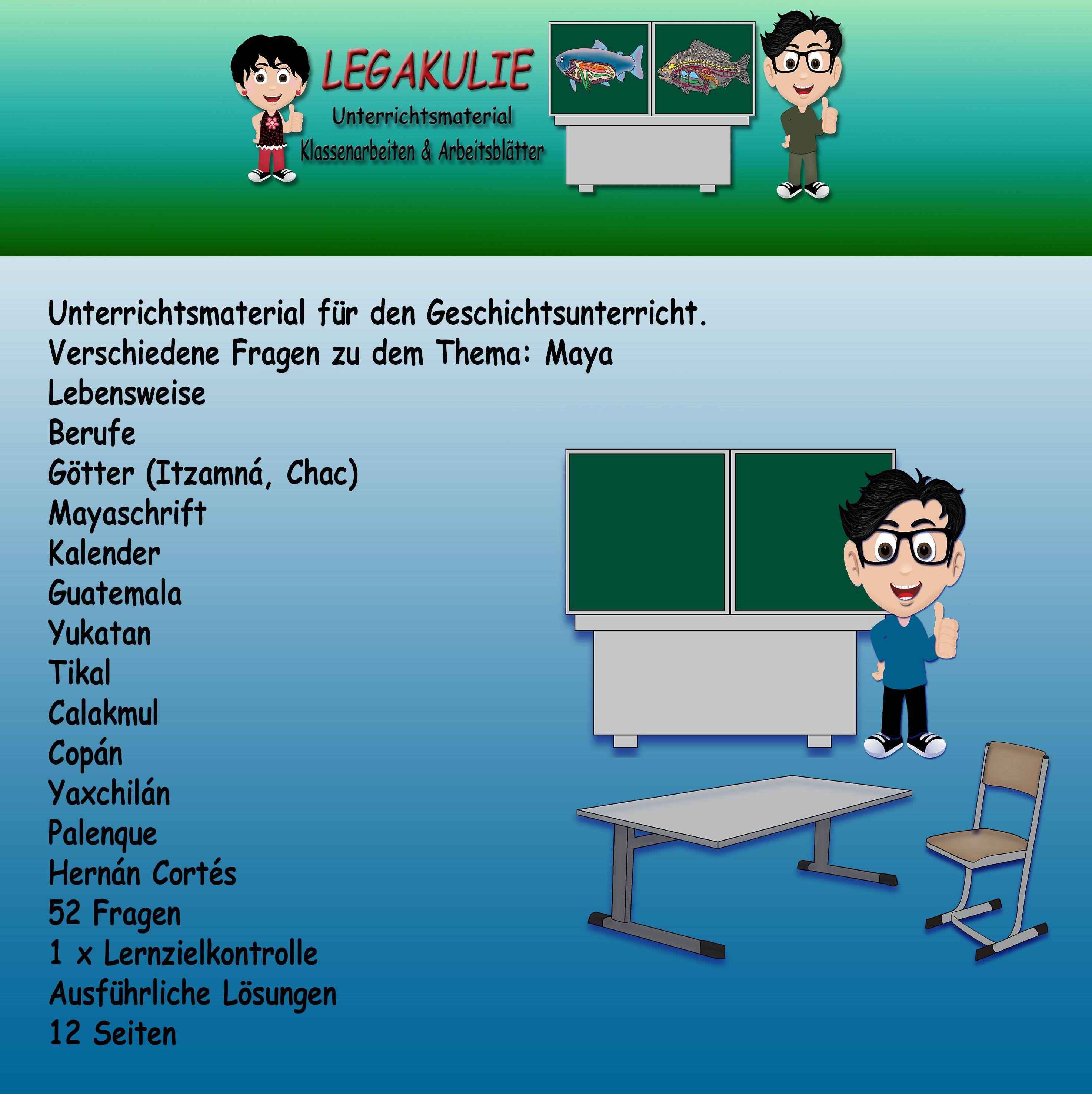 Maya | Geschichte Klassenarbeit Schulprobe Lernzielkontrolle ...