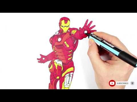 Avengers Iron Man Drawing and coloring | Yenilmezler Demir ...