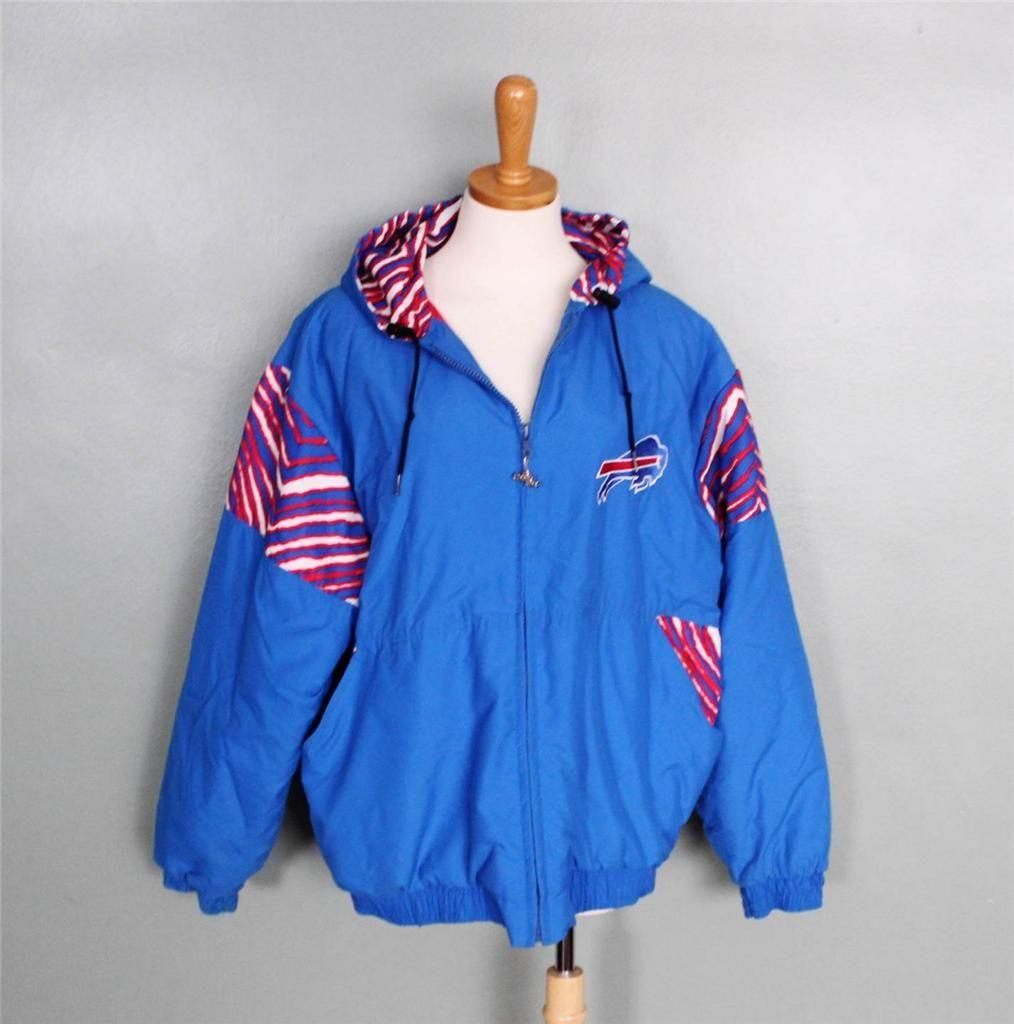 Vtg 90s Buffalo Bills Zubaz Chalk Line Jacket Winter Coat Rare Nfl Red Blue Line Jackets Fashion Winter Jackets