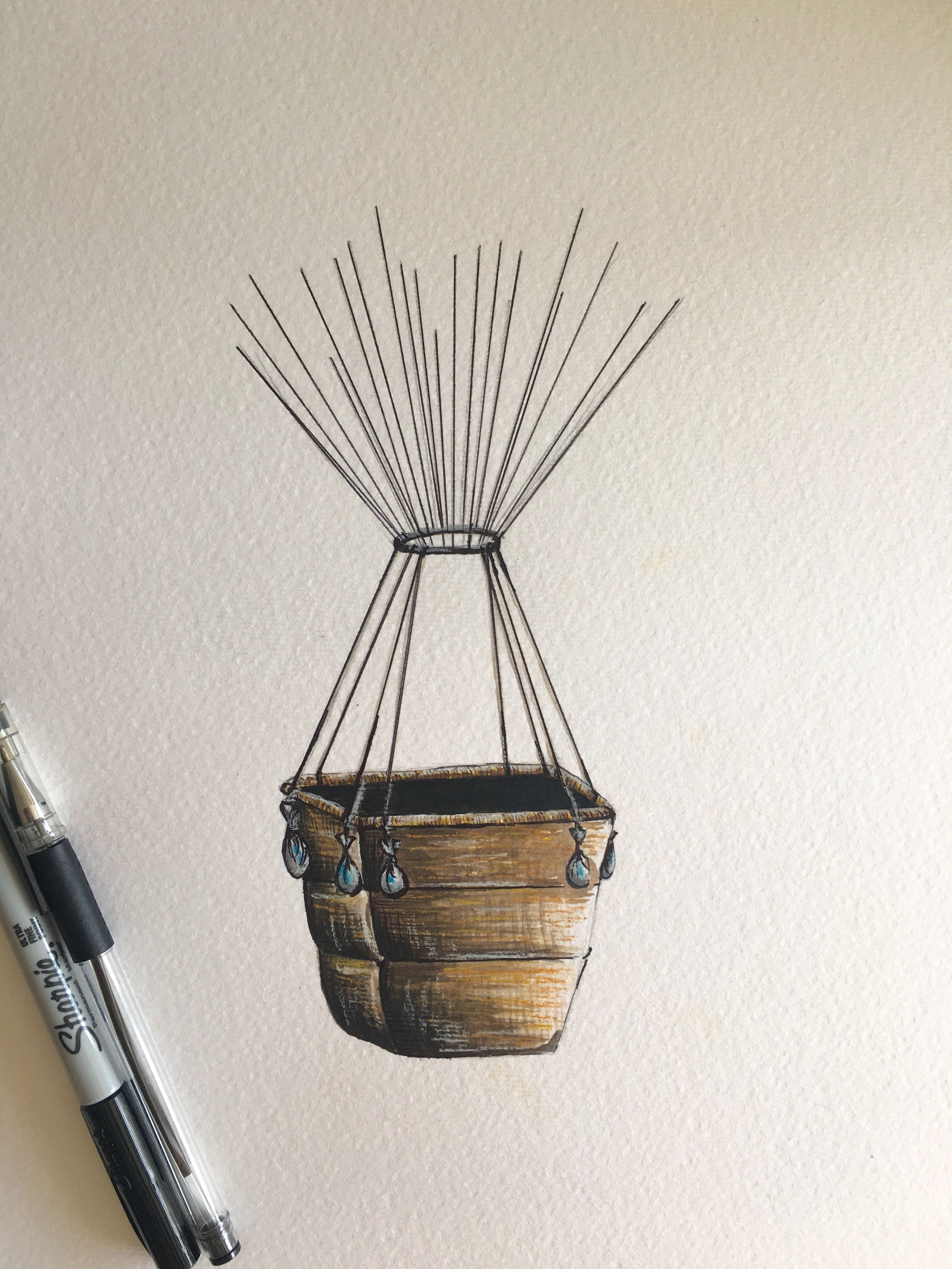 Original Painting Hot Air Balloon Basket A3 Size Makes The