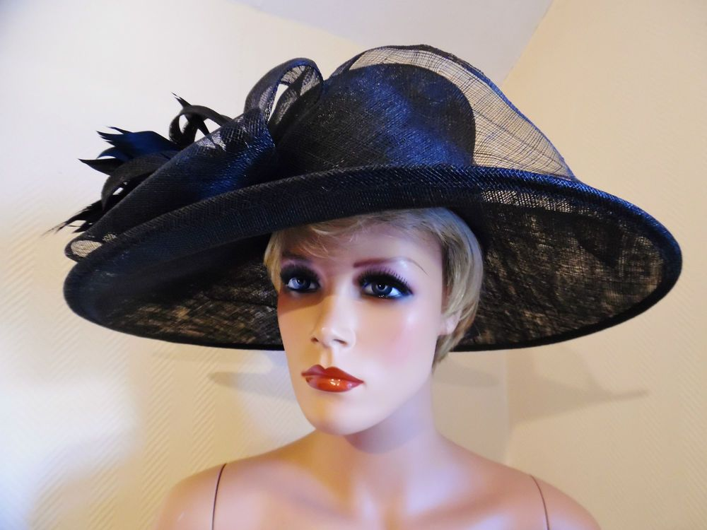 Las Day New Failsworth Black Large Wedding Royal Ascot Epsom Derby Race Hat