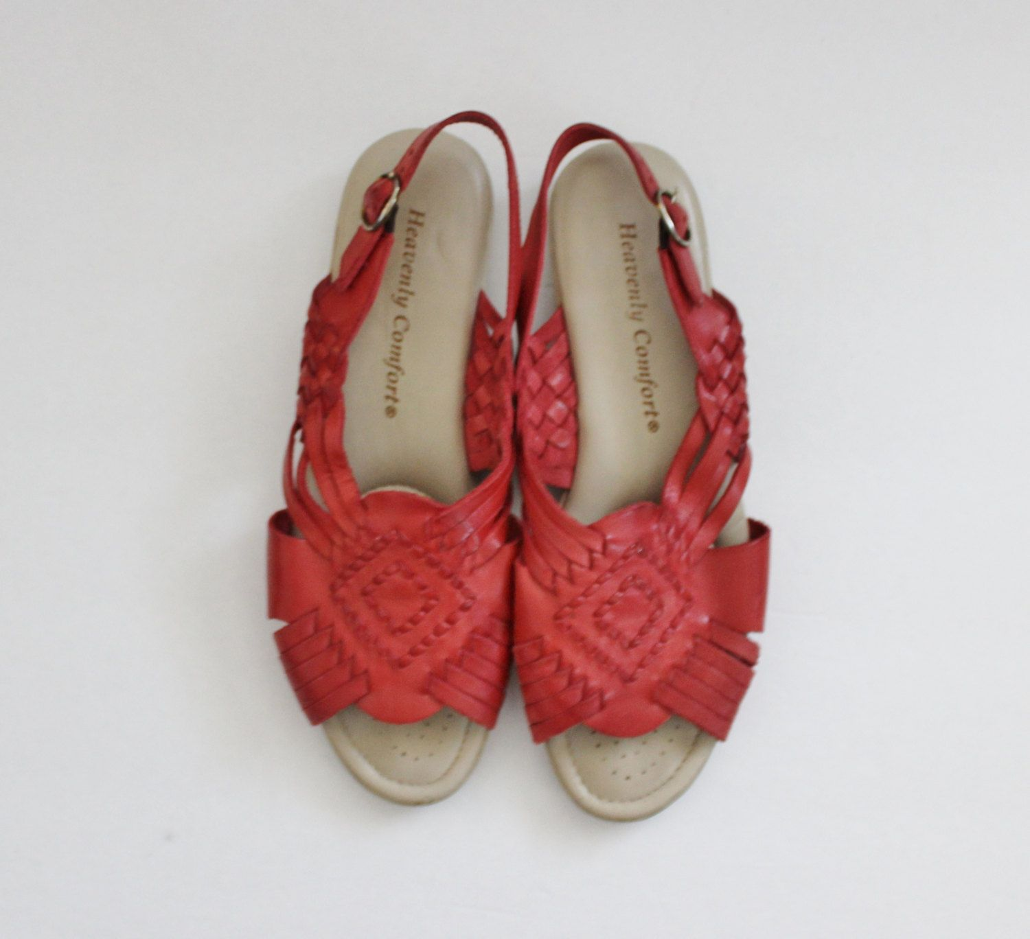 Womens sandals etsy - Vintage 80s Red Woven Leather Huarache Flat Sandals Women 8m Heavenly Comfort