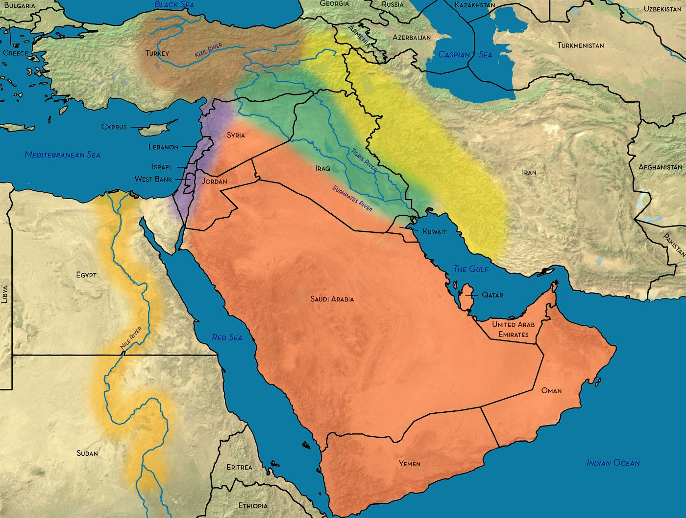 This Map Shows The Different Waterways In The Middle East
