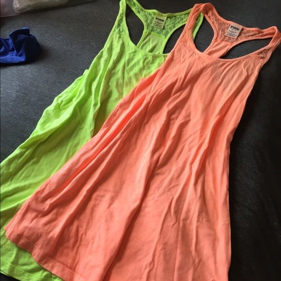 Victoria secret tank tops. Great condition. No rips or stains. Green is size small and orange is xs. Taking offers!! PINK Victoria's Secret Tops Tank Tops