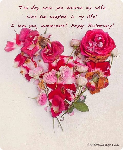 Ecard with flower heart and wedding anniversary wishes for