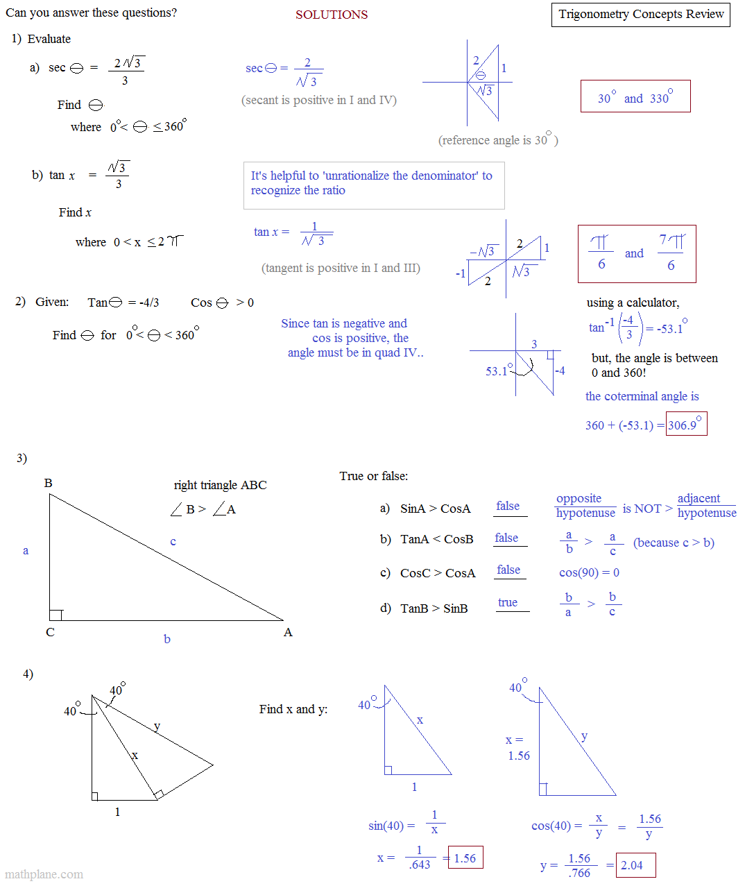 Math Plane Trigonometry Honors Review 3 Trigonometry Concept Review This Or That Questions [ 1277 x 1074 Pixel ]