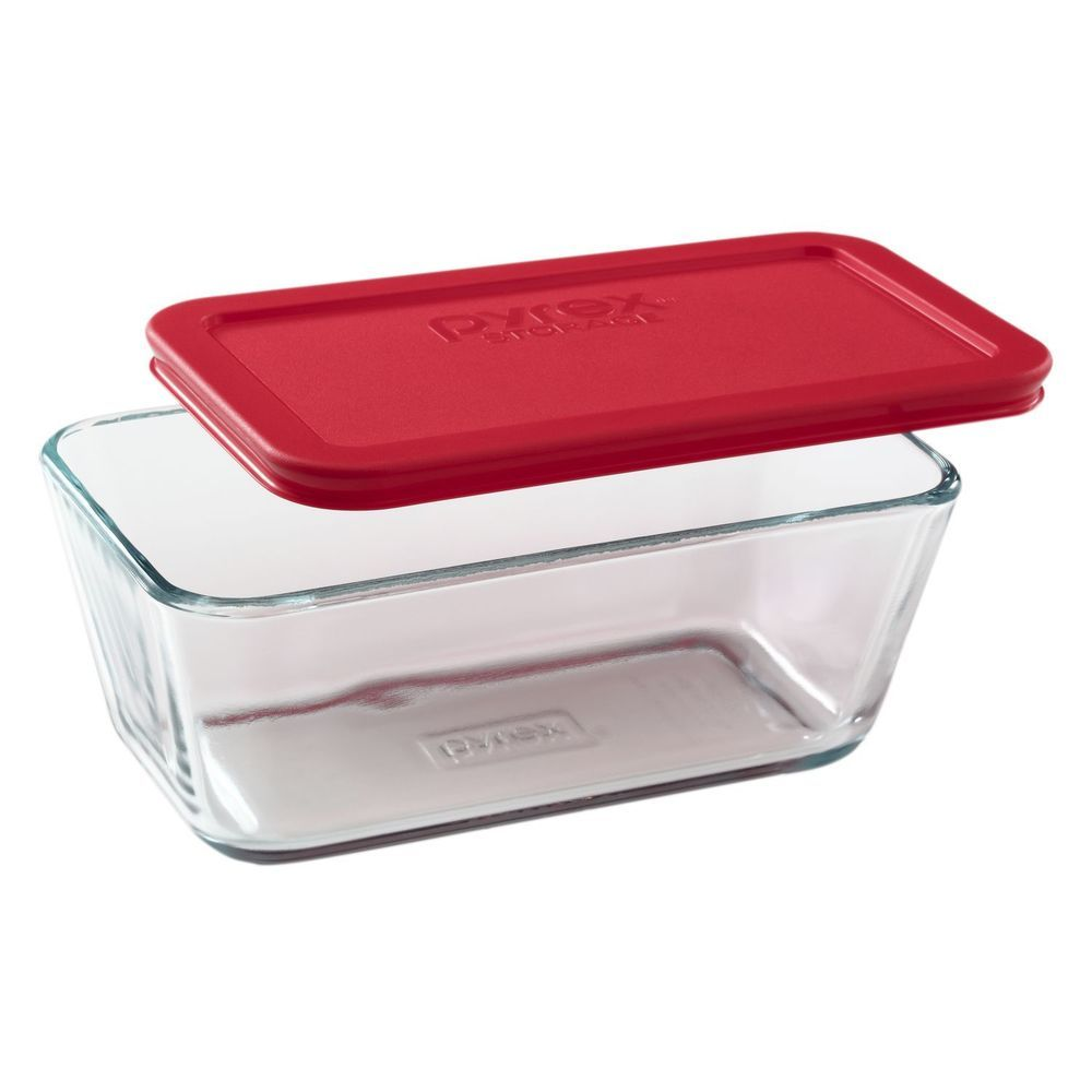 Pyrex Storage 48 Cup Oblong Dish Clear Glass with Red Plastic Lid