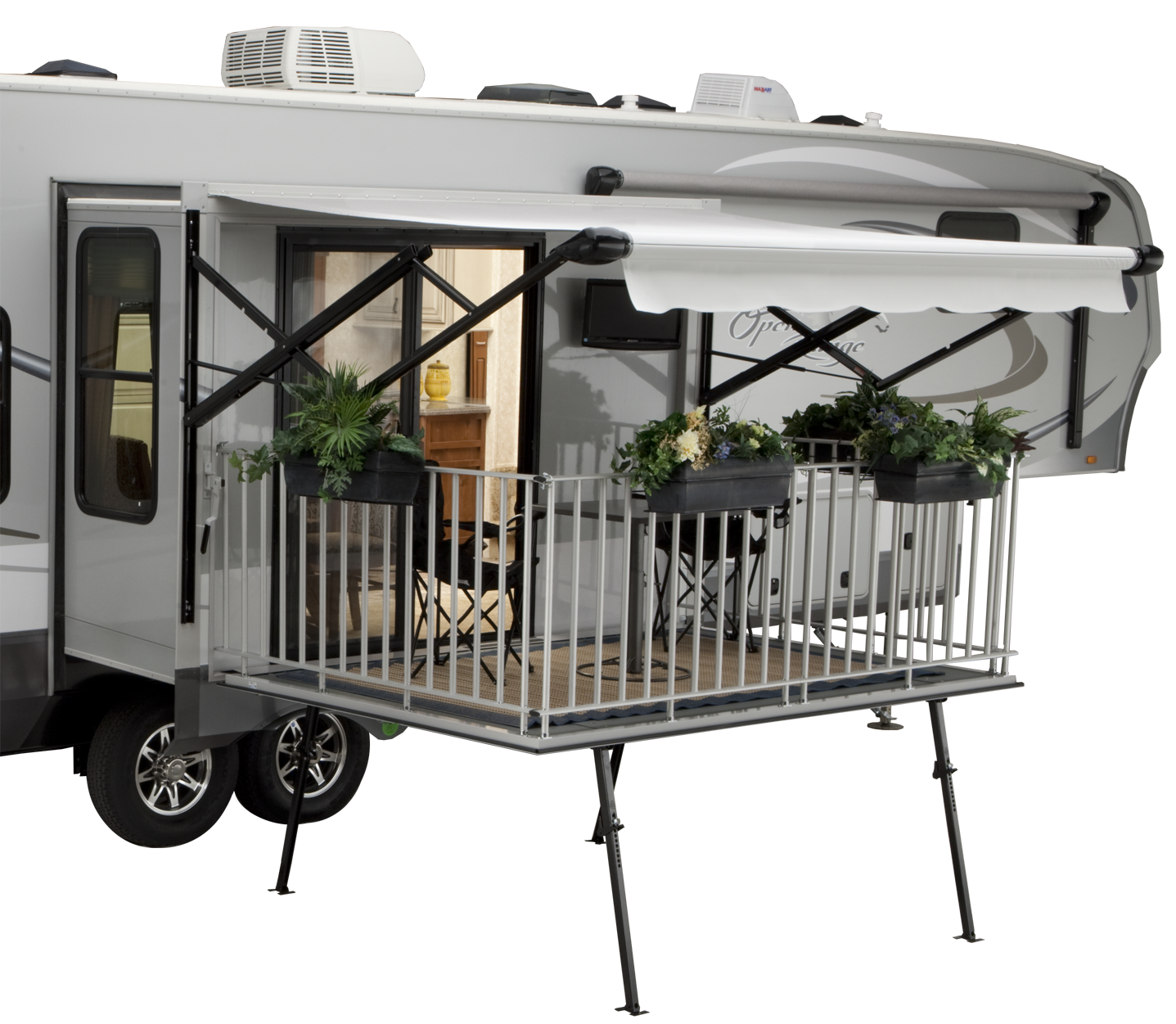Toy Hauler With Outdoor Kitchen: Open Range Toy Hauler With Deck Patio