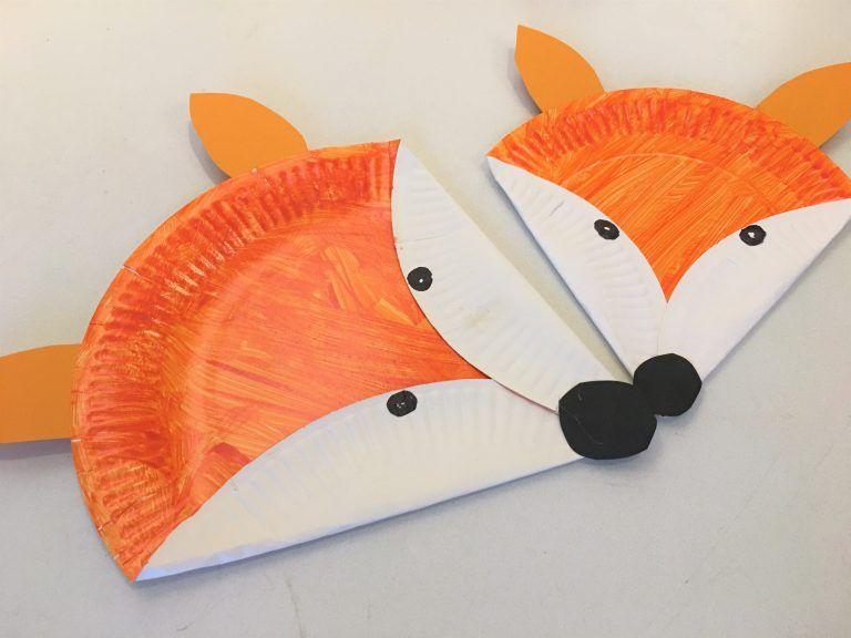 Füchse Pappteller Basteln Herbst Kinder Arbeit Basteln