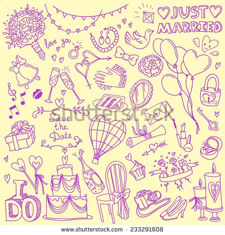 Set of wedding theme doodles simple hand drawn sketch style vector set of wedding theme doodles simple hand drawn sketch style vector illustrations isolated on background junglespirit Gallery