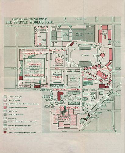 Map Of The Century 21 Fairgrounds 1962 Seattle World S Fair