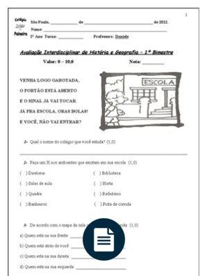 Avaliacao De Historia E Geografia 1º Bimestre Com Imagens