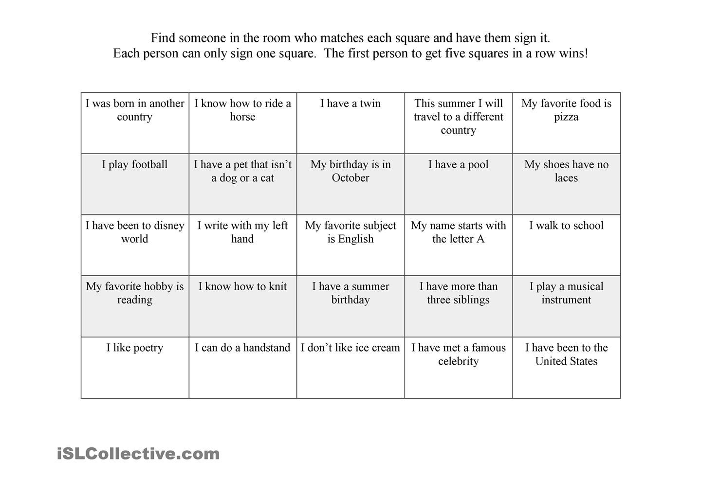 worksheet Icebreaker Worksheets first day ice breaker bingo suggested activities esl pinterest bingo