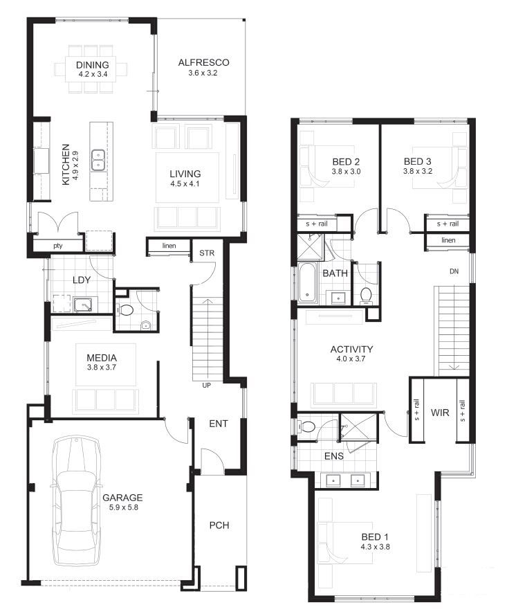 Two Storey Home Designs Two Story House Plans House Plans 2 Storey Narrow House Plans