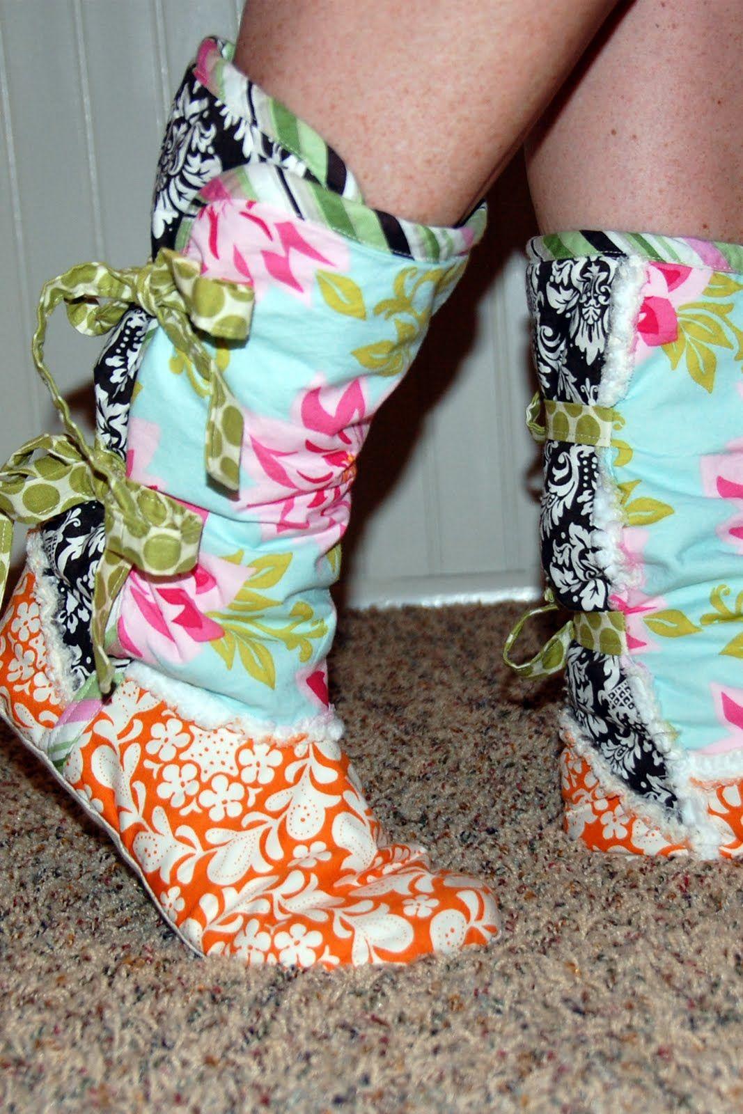 Printable Fleece Slipper Pattern | FLEECE MOCCASIN SLIPPER BOOTS ...
