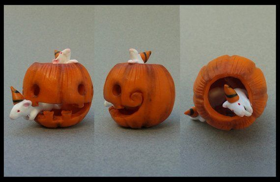 Halloween Decor, Miniature, Rat, Jack O Lantern, Pumpkin Decor, Home Decor, Autumn, Fall Gifts, Rats, Mouse