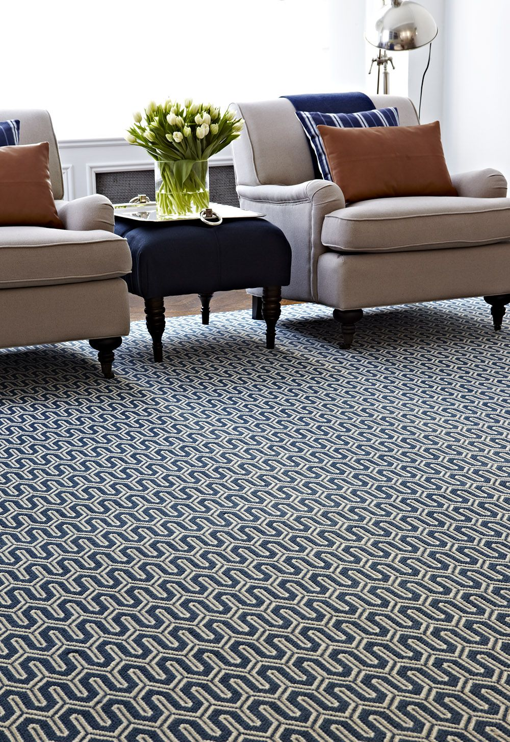 a striking navy geometric rug in a living room stanton carpet style baltimore in color. Black Bedroom Furniture Sets. Home Design Ideas
