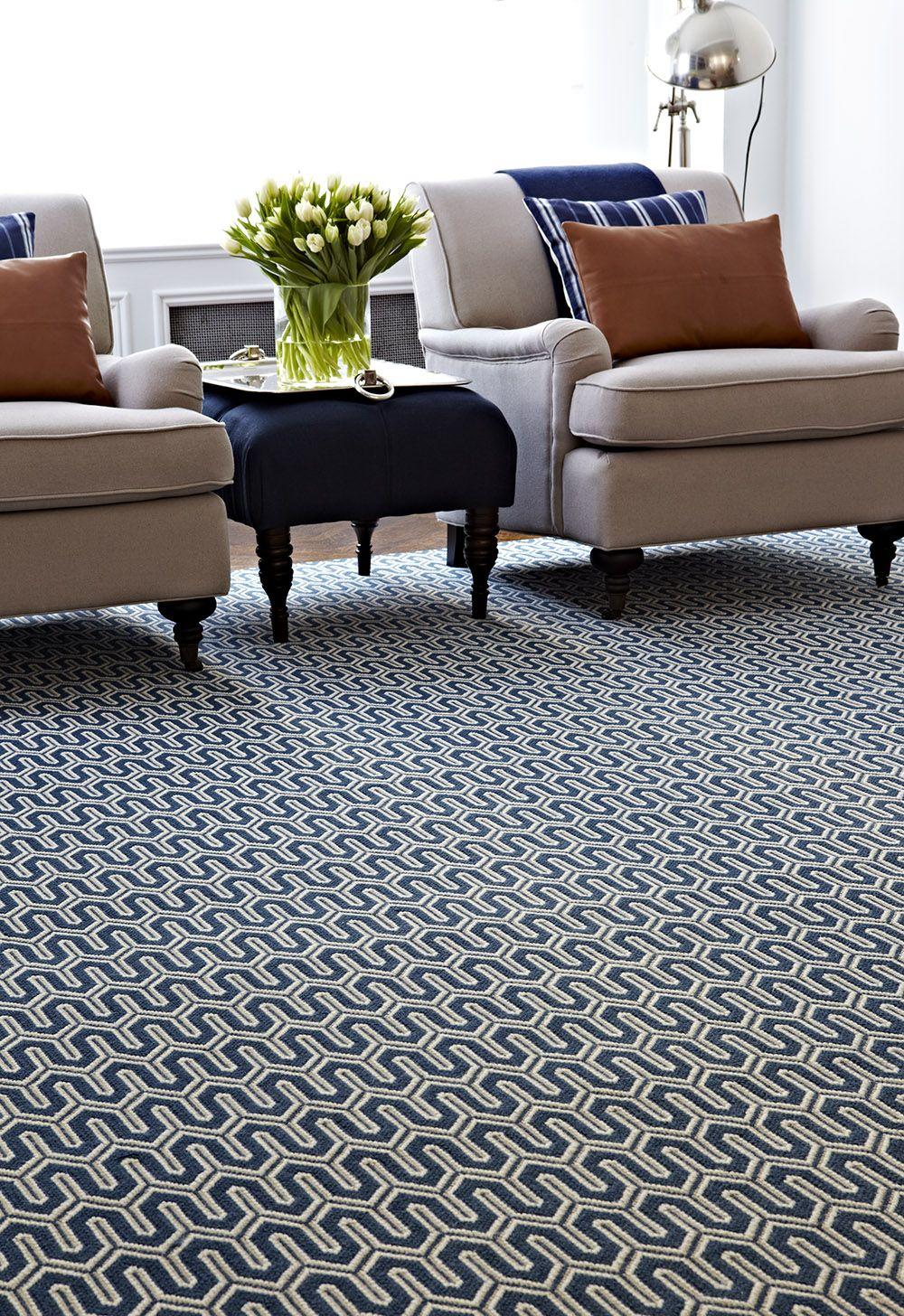 A Striking Navy Geometric Rug In Living Room Stanton