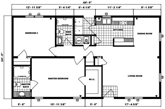 Pine Grove Homes G 214 Mobile Home Floor Plans Little House Plans Guest House Plans