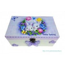White Bunny - Cutie personalizata de Pasti - Cadouri personalizate hand made Sarbatori - CustomEventsOnline.ro