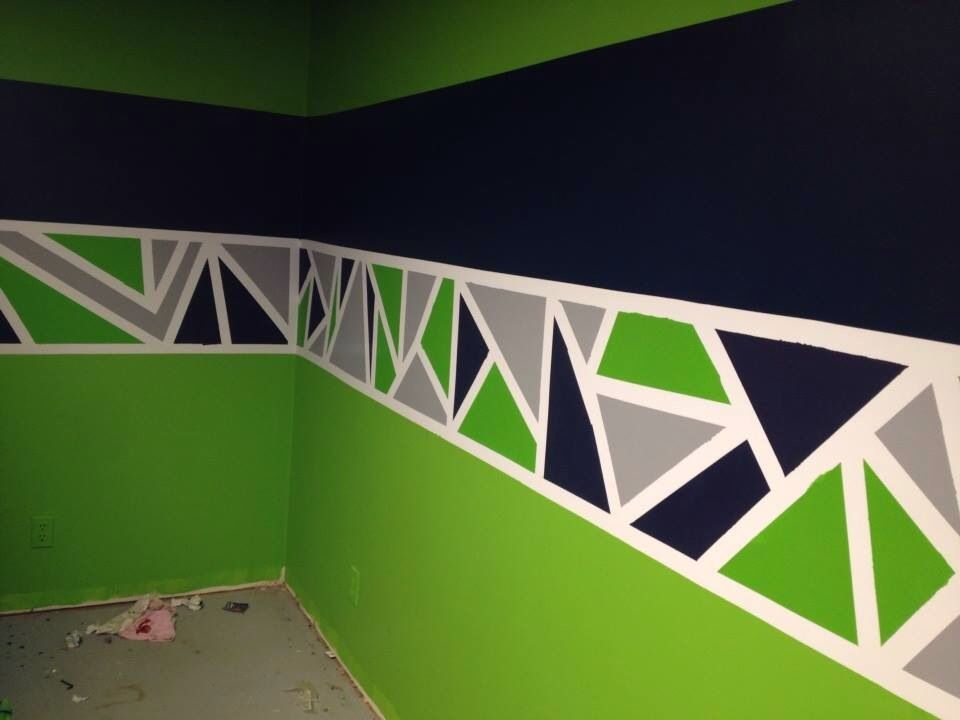 Painted geometric triangle border in Seattle Seahawks color scheme - Painted Geometric Triangle Border In Seattle Seahawks Color Scheme