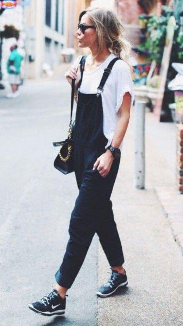 5082924975b Top: jumpsuit overalls streetstyle streetwear mango t-shirt white t-shirt  jeans black white nike