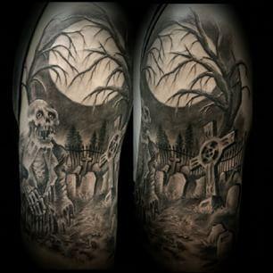 90018a8fdea4f graveyard tattoo sleeve - Google Search   Traditional Tattoo Sleeves ...