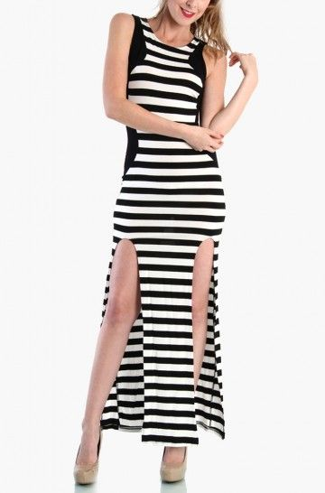 LoveMelrose.com From Harry & Molly | DOUBLE SLIT MAXI DRESS -STRIPED BLACK