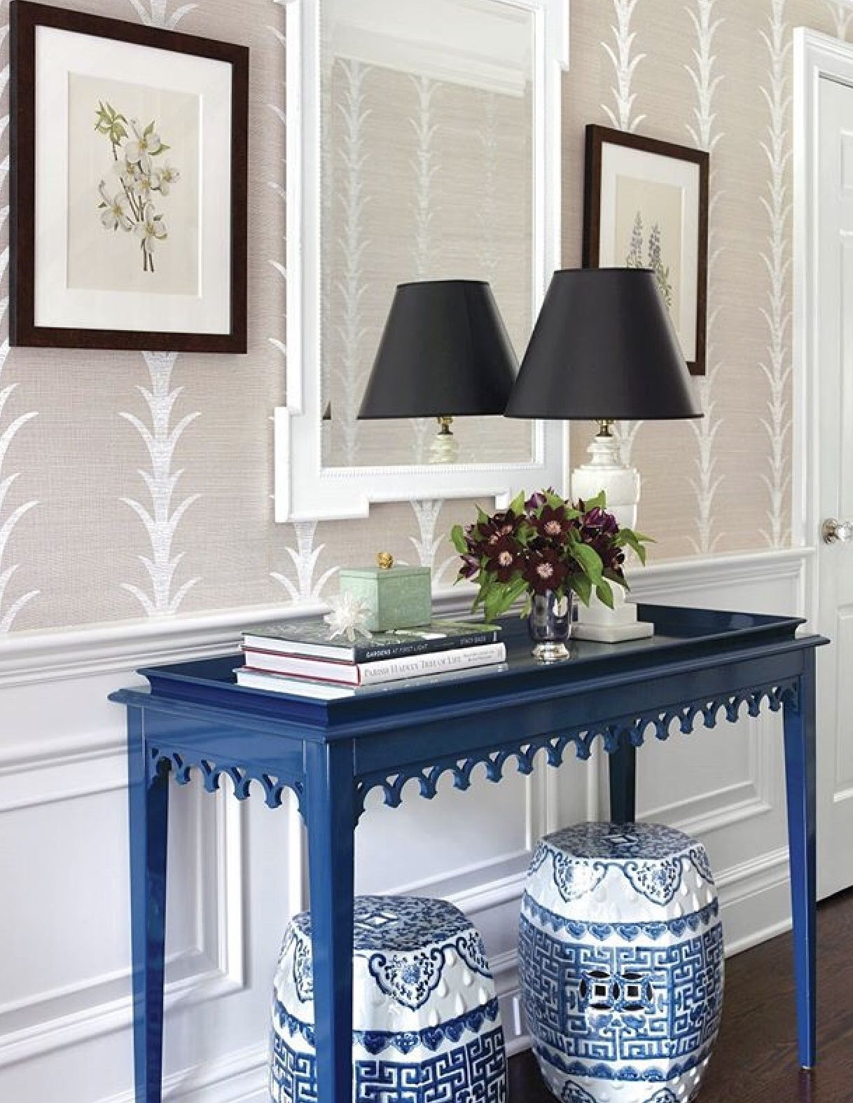 Traditional hallway wallpaper  Pin by Jacqueline R Maume on Blue and white  Pinterest  Blue and