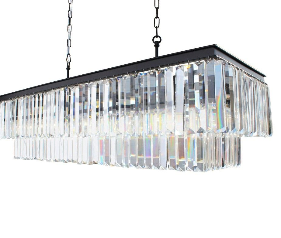 D\'Angelo 40 Inch Clear Glass Crystal Prism Chandelier   Light Up My ...