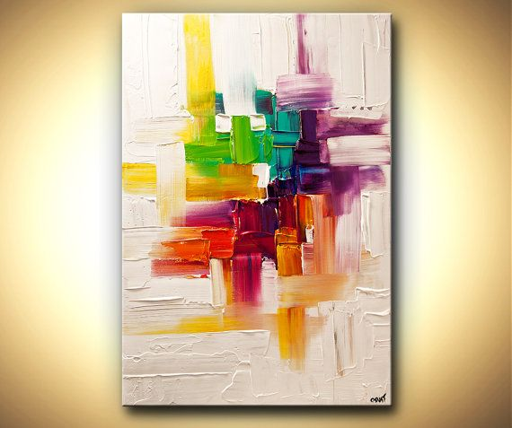 original contemporary modern abstract painting on canvas colorful palette knife by osnat 36x24. Black Bedroom Furniture Sets. Home Design Ideas