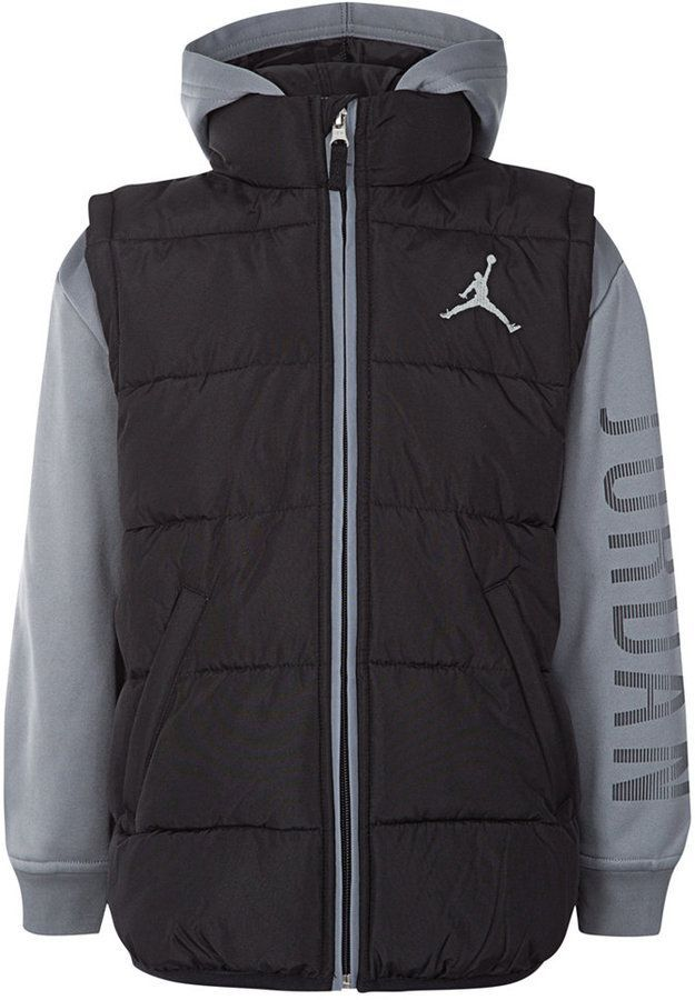 a3d6ca6ff7cd43 Jordan Aj Hooded Layered-Look Puffer Vest Jacket