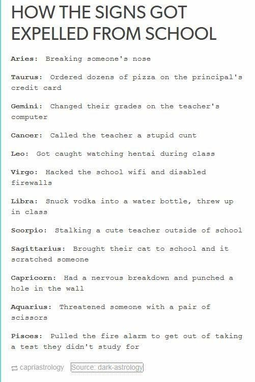 How The Signs Got Expelled From School Tumblr Zodiac