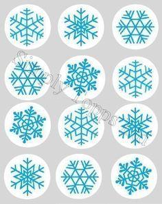 Decoration Gateau Motif Flocon De Neige Noel Bleu Papier De Riz