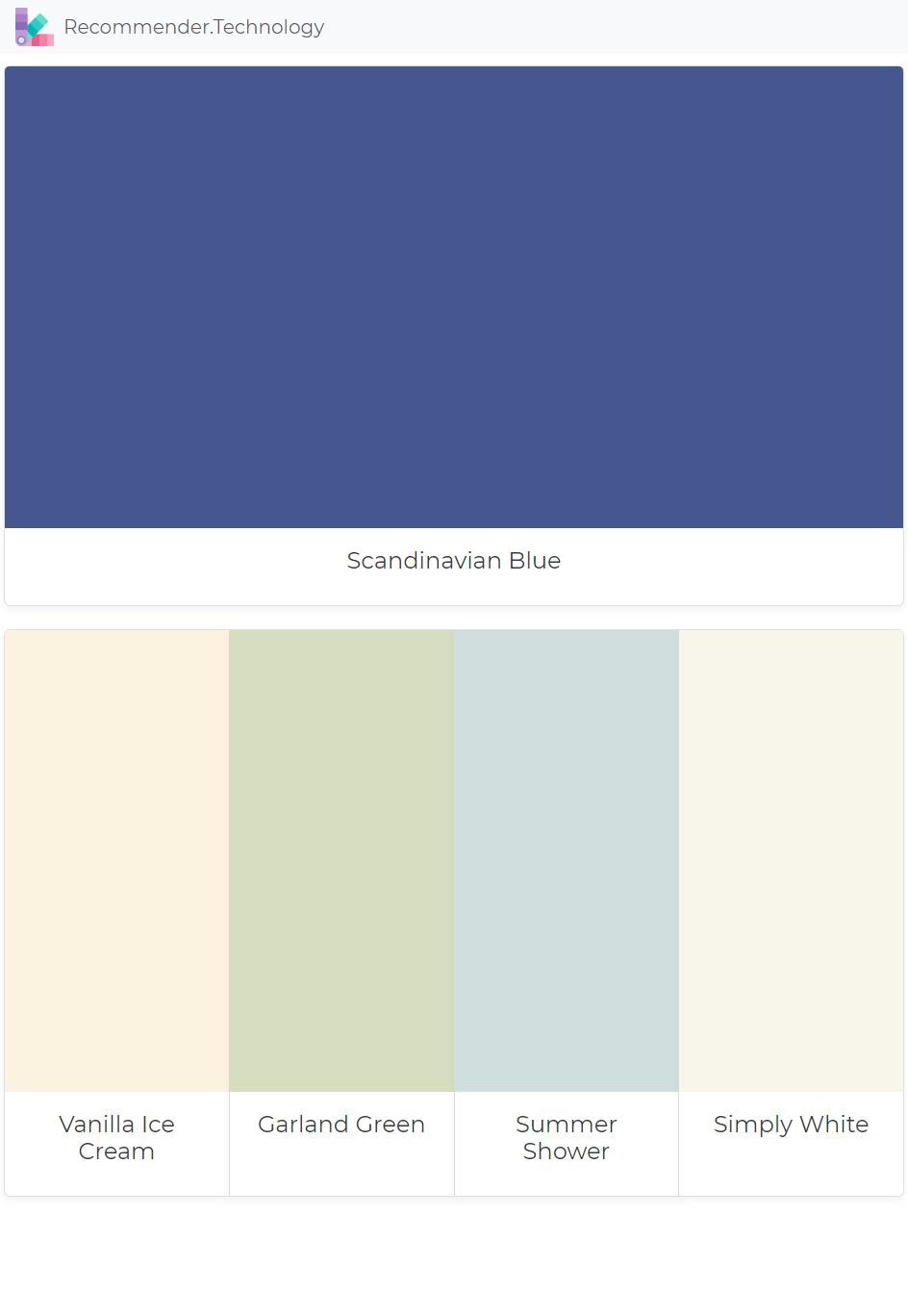 Scandinavian Blue Vanilla Ice Cream Garland Green Summer Shower Simply White Paint Colors Benjamin Moore Perfect Paint Color Paint Color Palettes